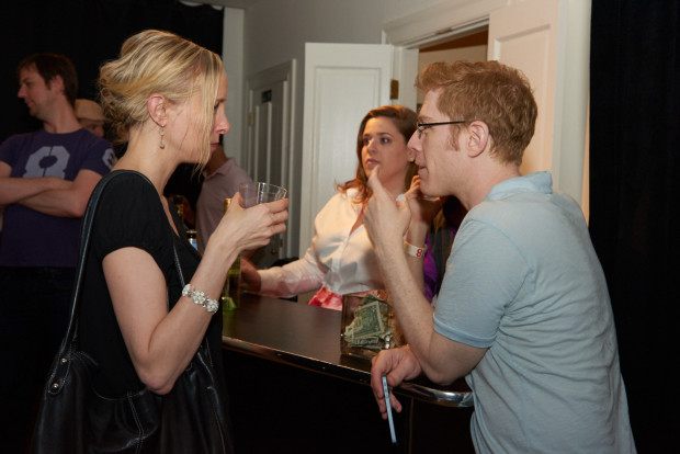 Solo actress/playwright, Rhonda Musak and actor, Anthony Rapp.